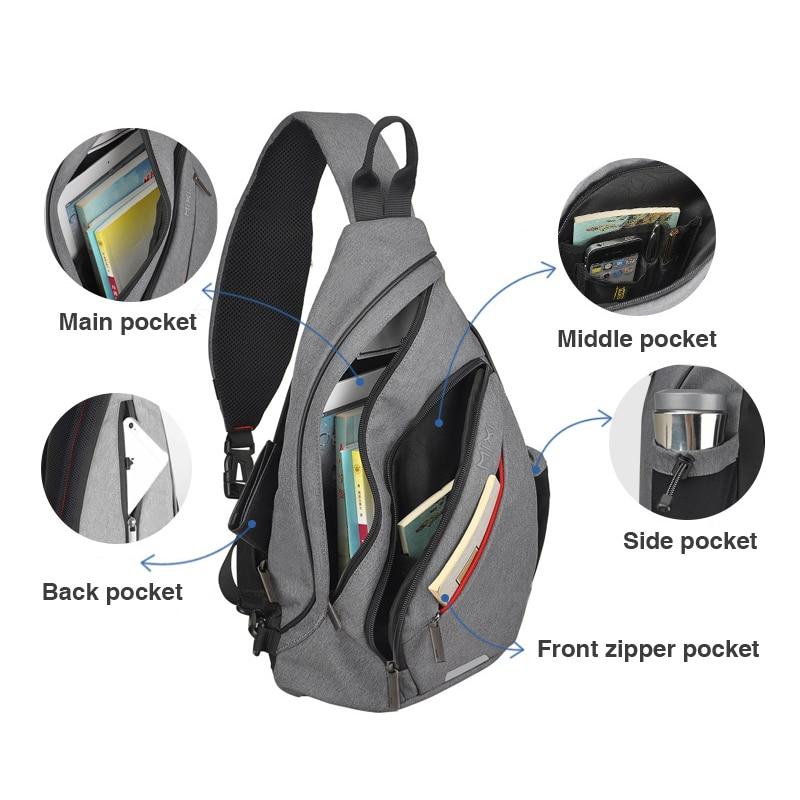 Nahrbtnik z enim ramenom z USB-jem, ženska torba za sling, - Nahrbtniki - Fotografija 5