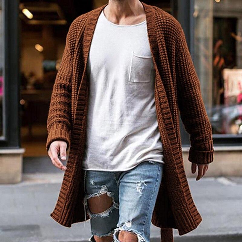 Мужское трикотажное пальто, Осенний стильный мужской кардиган, вязаный свитер, уличная одежда, повседневная однотонная облегающая верхняя ...