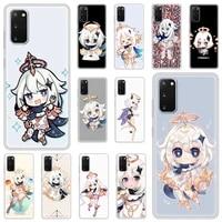 luxury silicone phone case for samsung galaxy s20 fe s10 s9 plus s21 ultra s8 soft matte cover funda genshin impact paimon game