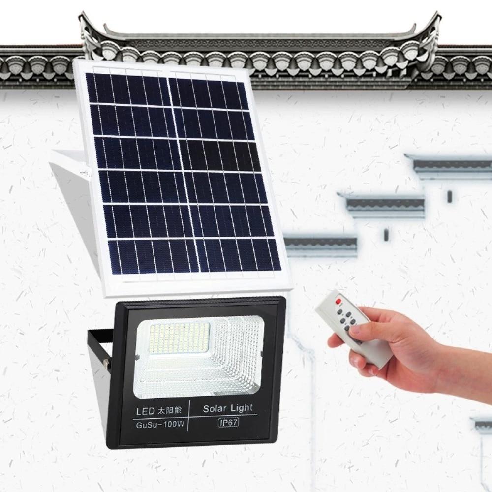 100w avancado jardim ao ar livre rua projector led painel solar fonte de alimentacao luz inundacao