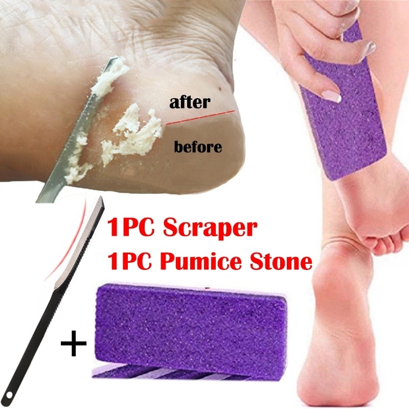 1pc pedra-pomes + 1pc raspador profissional lidar com calos de pele morta remoção pés cuidados de enfermagem pé pedicure