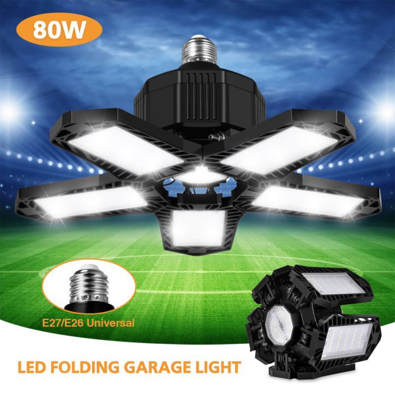 Светодиодный гараж светильник 80W IP65 Водонепроницаемый складной светильник светодиодный лампы Потолочный светильник s деформации в гараж и...