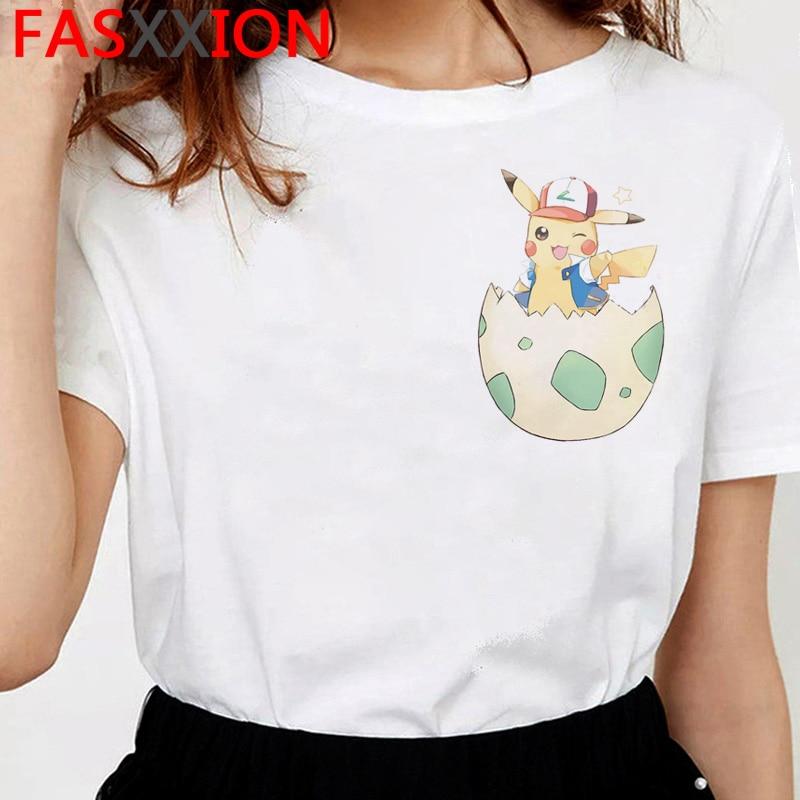 Pokemon Kawaii Women's T-shirt 2020 Hot Funny  Ulzzang Tshirt Pikachu Cute Awesome Artwork Printed T Shirt Tees Tops Female