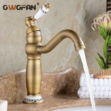 Robinet Antique de lavabo de salle de bains   Robinet de cuisine Vintage évier robinet décoratif en céramique laiton mélangeur de lavabo, robinet Bronze deau F0209