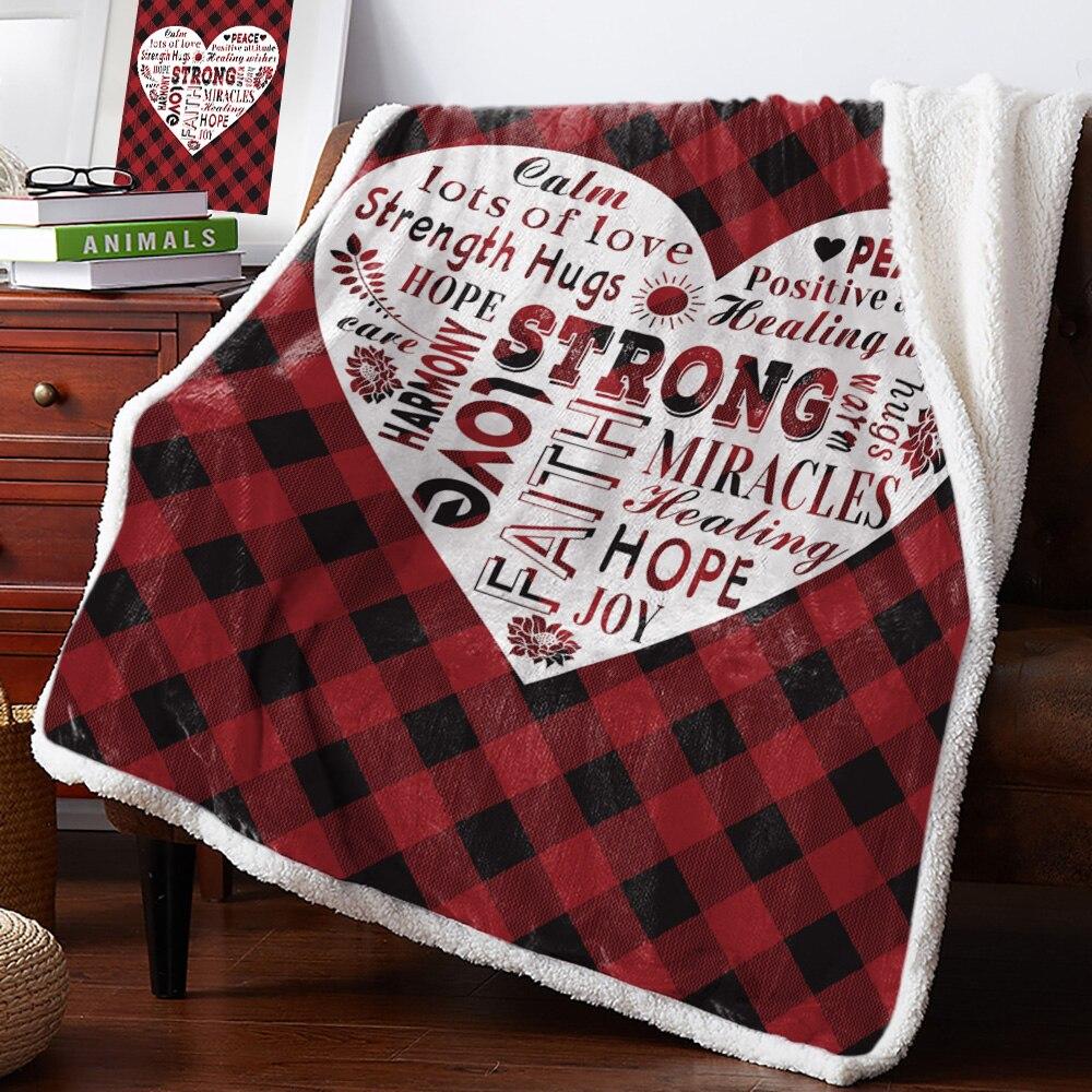 Bighhouses manta roja a cuadros amor curativo texto colchas forro polar manta personalizada gruesa