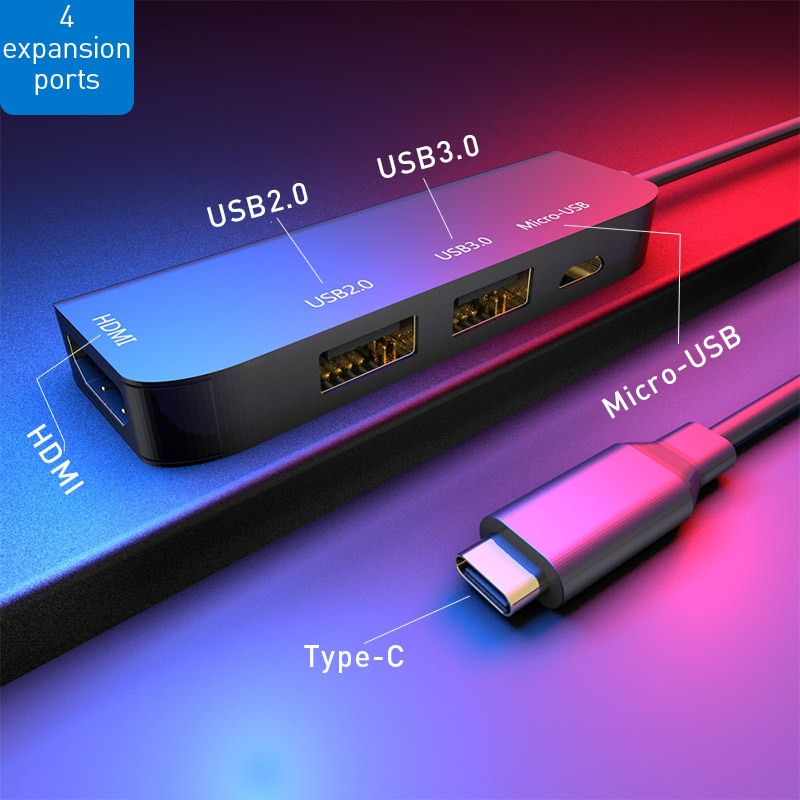 VLAMPO High Speed Type-C to HDMI+USB3.0+USB2.0+Micro USB 4 USB Ports 3.0 Hub Splitter Adapter Expansion Dock Convert for MacBook