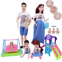 5 person family combination 30cm barbies doll joint pregnant mom dad slide swing girl childrens furniture accessories toy