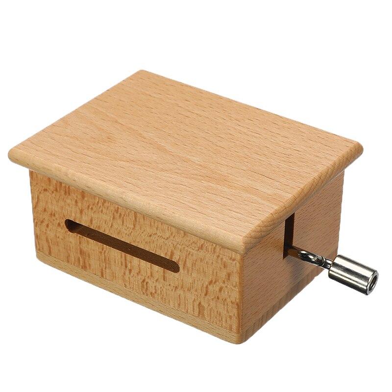 Caja de música de madera con manivela manual DIY de 15 tonos con perforador de papel perforador de agujeros cintas de música movimientos caja de papel tira decoración artesanal para el hogar