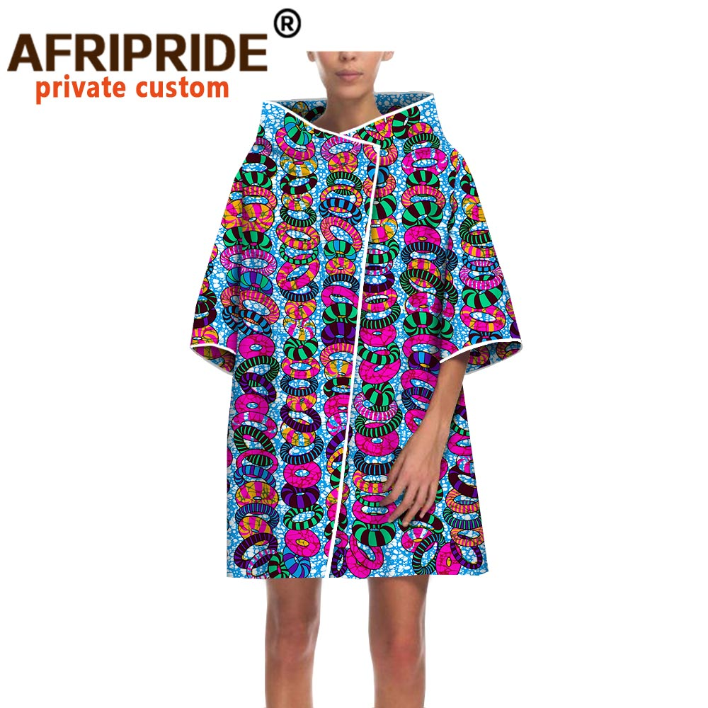 2020 latest african print casual coats for women  AFRIPRIDE three quarter sleeve Invisiable Button coat A1824005