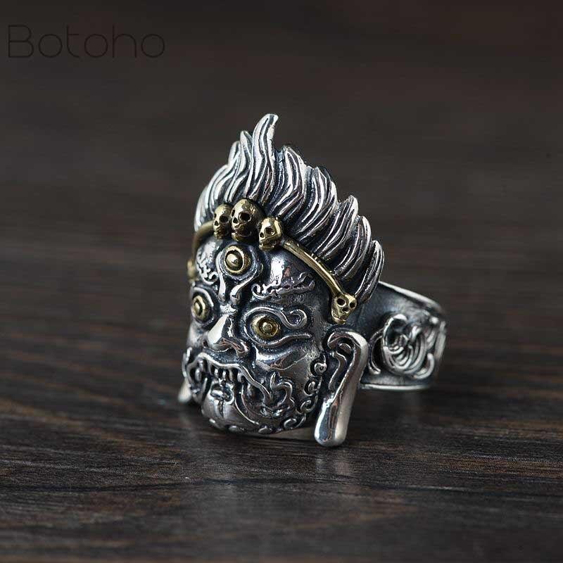 اليدوية 925 الفضة Mahakala حلقة 925 فضة بوذا تمثال خاتم الفضة النقية حظا سعيدا حلقة هالوين الدائري مقاس واحد