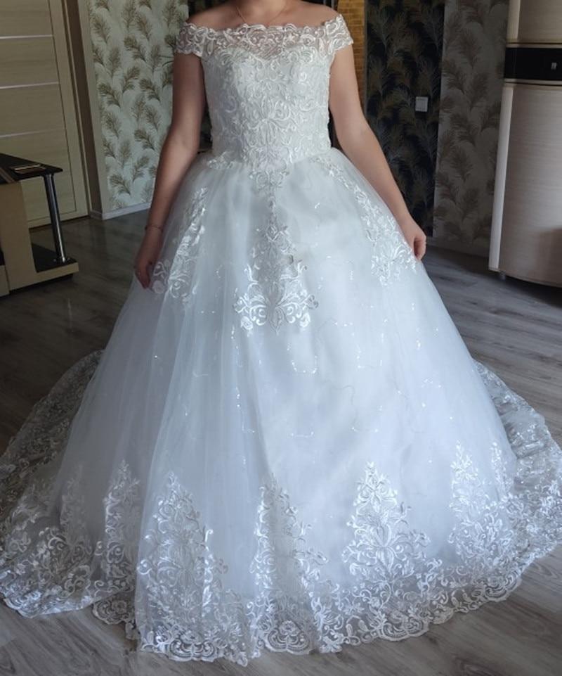 Real Vedio Luxury Lace Applique Plus Size Wedding Dress Embroidery 2021 New Long Train Sweetheart Bride Gown Vestidos De Noiva