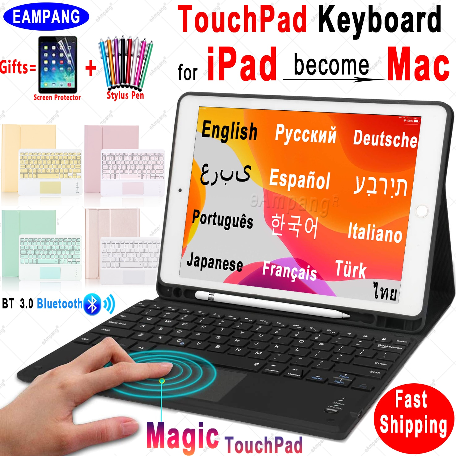 Magic TouchPad Keyboard for iPad 10.2 Keyboard Case for Apple iPad 9.7 2017 2018 Air 2 3 4 Pro 9.7 1