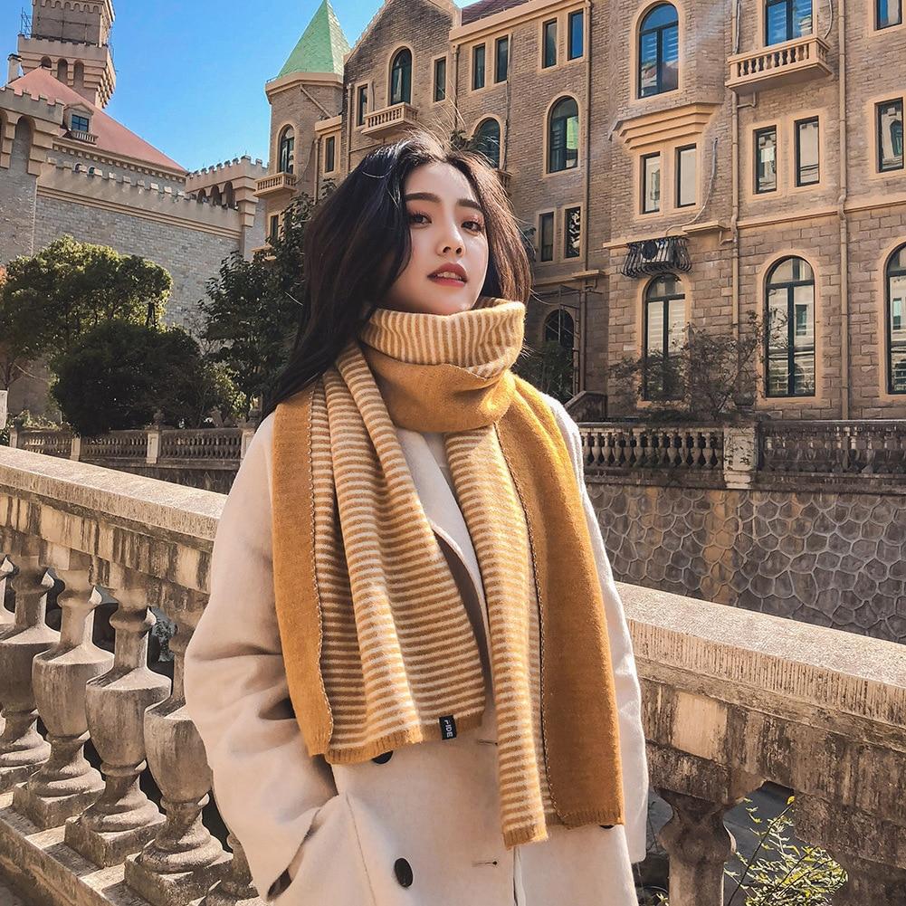 Bufanda de invierno a la moda para mujer Bandana cachemir caliente chal a rayas Poncho mujer Pashmina bufanda de mujer 2019