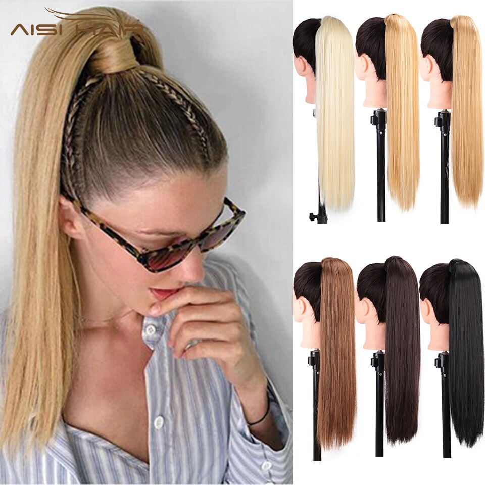 """ICH der eine perücke 24 """"110g 15 Farben Erhältlich Hohe Temperatur Faser Synthetische Gefälschte Haar Umlaufende Pferdeschwanz-erweiterungen für Frauen"""