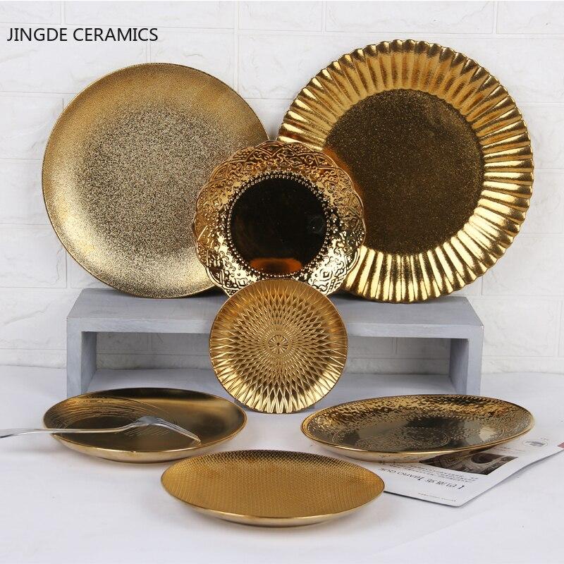 1 قطعة النمط الأوروبي الذهبي السيراميك لوحات عثرة مستديرة الملمس الزواج وجبات خفيفة طبق فاكهة عشاء الراقية أدوات المائدة المطبخ