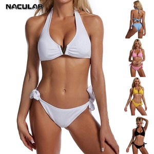 Nacular Bikini 2021 Solid Swimsuit Women Swimwear Push Up Bikini Set Biquini Brazilian Summer Beach Bathing Suit Swim Wear