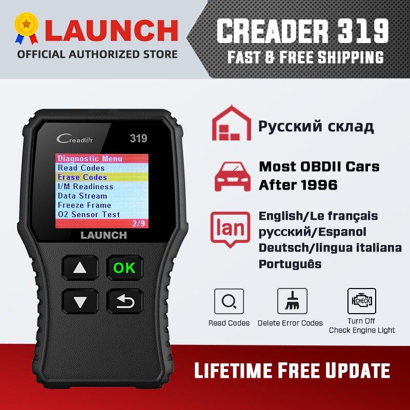 Диагностический сканер launch X431 Creader 319 CR319, полностью OBDII EOBD OBD2, автомобильный считыватель кодов, PK CR6001 CR3001