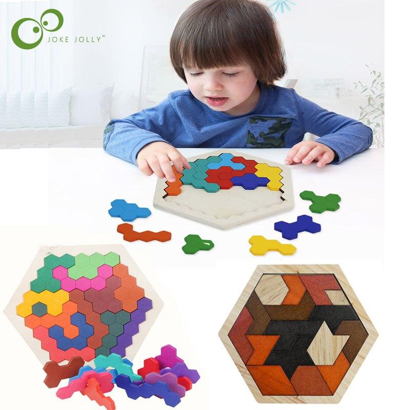 Креативный таграмма соты геометрические Логические Пазлы игрушки Деревянные Монтессори Детские Развивающий Пазл игрушки для детей подарок ZXH