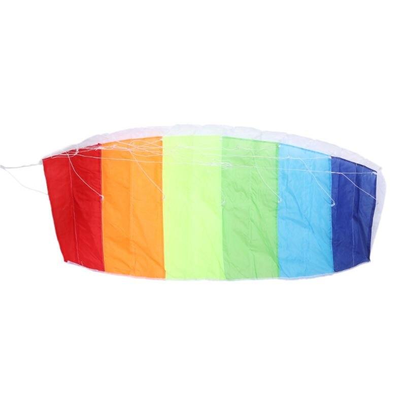 1,2 m doble línea Rainbow Parafoil vuelo de cometas cometa deportes playa truco cometa con mango Ripstop Nylon exterior Kitesurf 72XC
