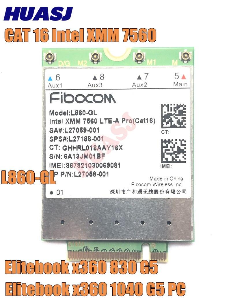 Huasj L860-GL FDD-LTE TDD-LTE Cat16 xmm 7560 4G Módulo 4G SPS # L27188-001 4G Cartão Cartão الفقرة محمول EliteBook 830 1040 G5