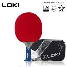 Raquette de Ping-Pong Pro LOKI 6 étoiles en carbone WRB avec lame en caoutchouc ITTF