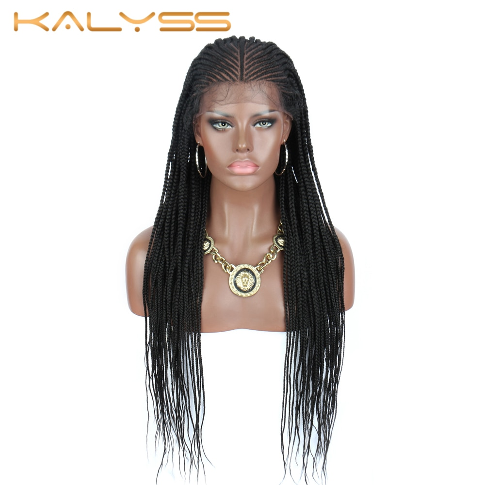 Kalyss 30 Inches Cornrow Braided Synthetic 13X6 Large Lace Front Black Box Braids Wigs with Baby Hair for Black Women