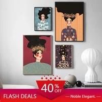 Toile de peinture abstraite de noel pour femmes  affiche murale de fleurs  Art Vintage moderne  mode fille  photos pour decor de maison