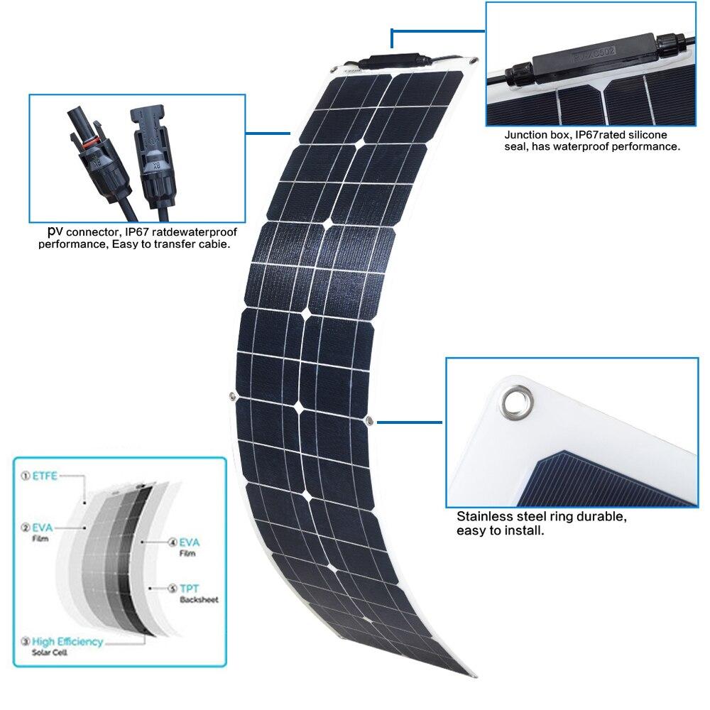 لوحة طاقة شمسية 50 واط 100 واط مرنة ETFE PET الضوئية PV أحادية الخلية 12 فولت 24 فولت شاحن بطارية 1000 واط المنزل نظام عدة تخييم