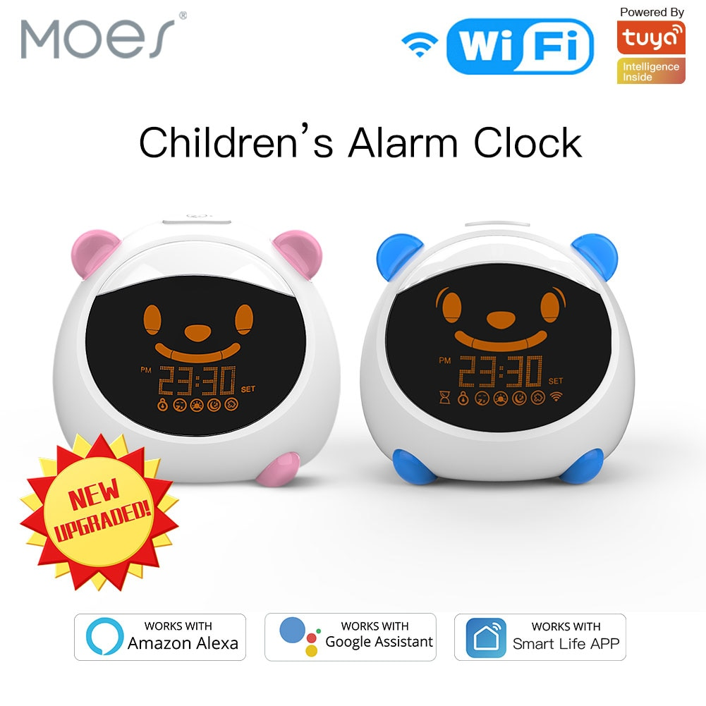 WiFi Smart Kids' Alarm Sleep Trainer Clock Light Sound Expression Smart Life Tuya App Voice Control with Alexa Google Home недорого