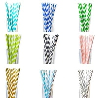 25pcslot disposable paper straws foil stripe creative mixed drinking party decorations kids christmas creative party supplies