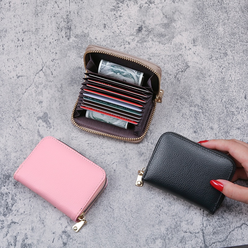 Minimalist Short Wallet Women Security Card Holder Small Monedero Zipper Vintage Pu Leather Red Color Wallet Purse Credit Card
