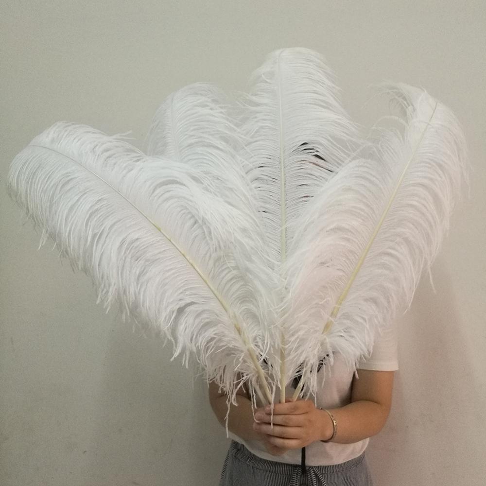 Plumas de avestruz blancas para manualidades de 15-75cm, plumas blancas para manualidades, plumas decorativas para bodas, 50 Uds. Al por mayor