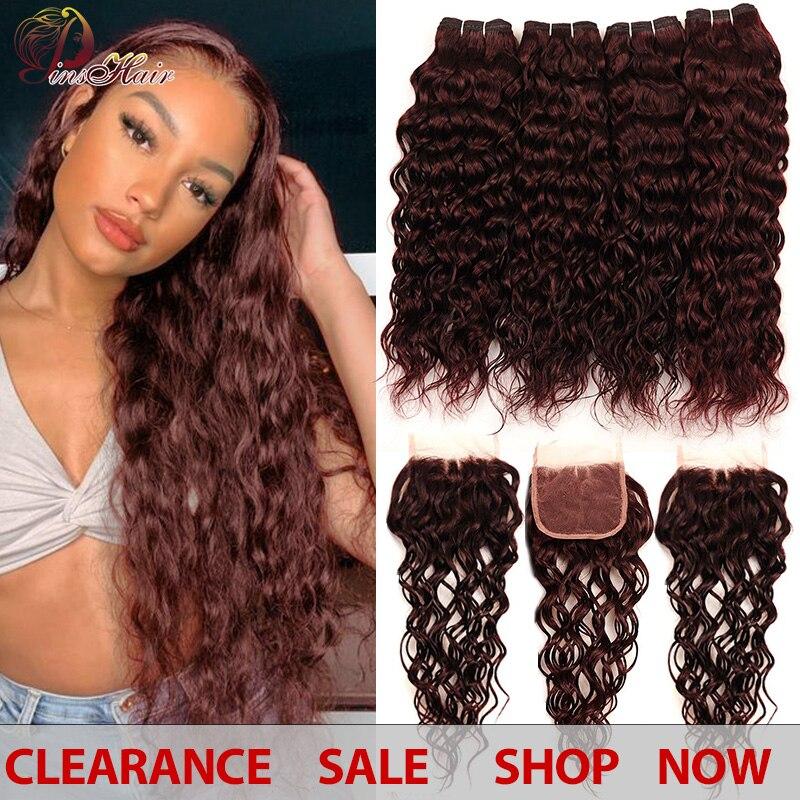 Brazylijskie włosy falowane Burgundy 4 zestawy z zamknięciem Pinshair pre-colored ciemno czerwony wiązki ludzkich włosów z zamknięciem non-remy