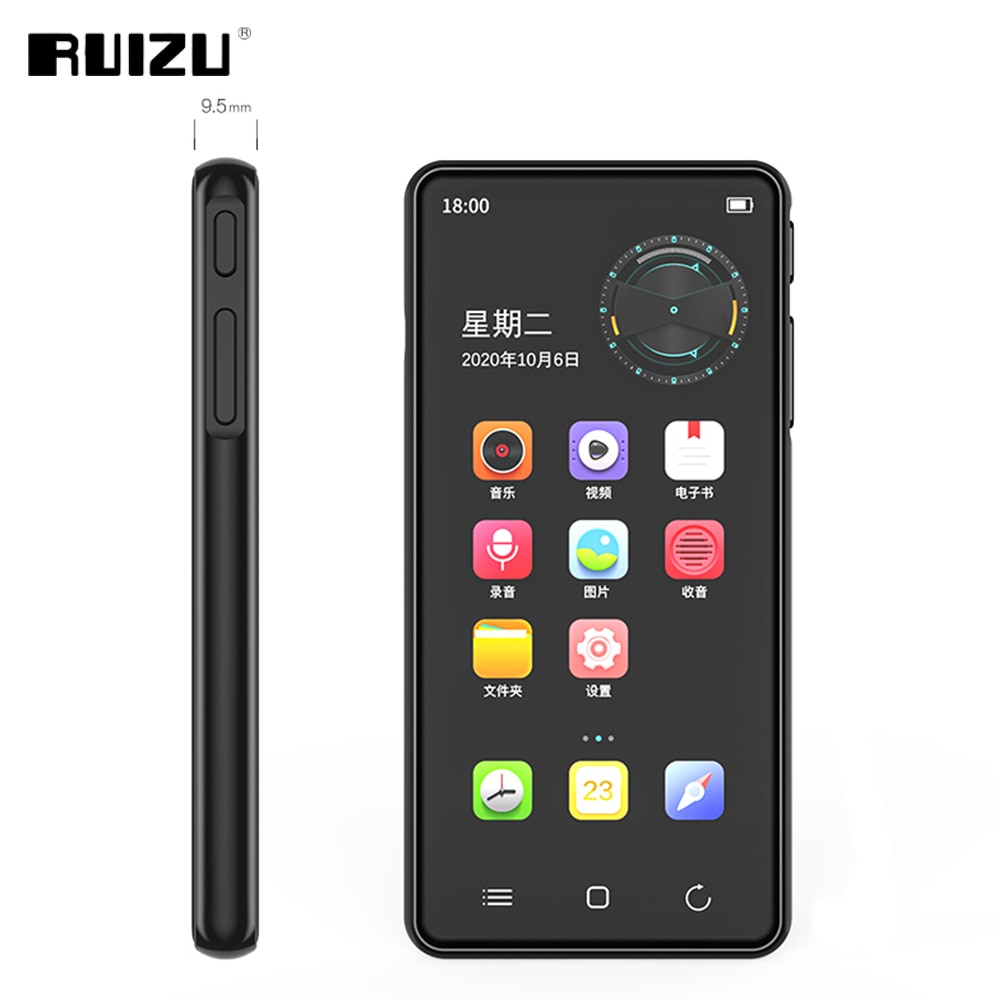 RUIZU H8 أندرويد واي فاي مشغل MP3 بلوتوث 5.0 شاشة تعمل باللمس الكامل 4 بوصة 16 جيجابايت مشغل فيديو الموسيقى مع FM تسجيل الكتاب الإلكتروني
