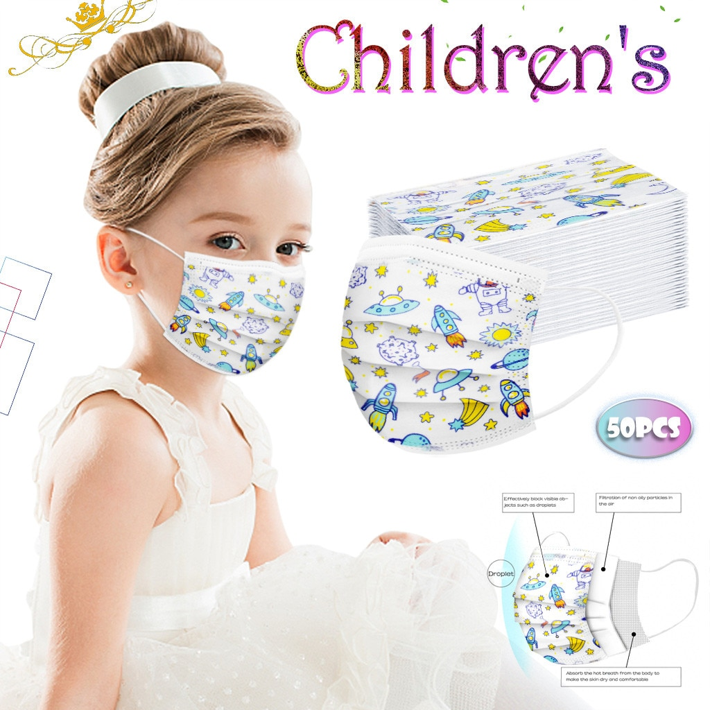 50pc Children's Good Quality Disposable 3-ply Breathable Face Ma Sk For Lips Care Ear Loops Msk Tren