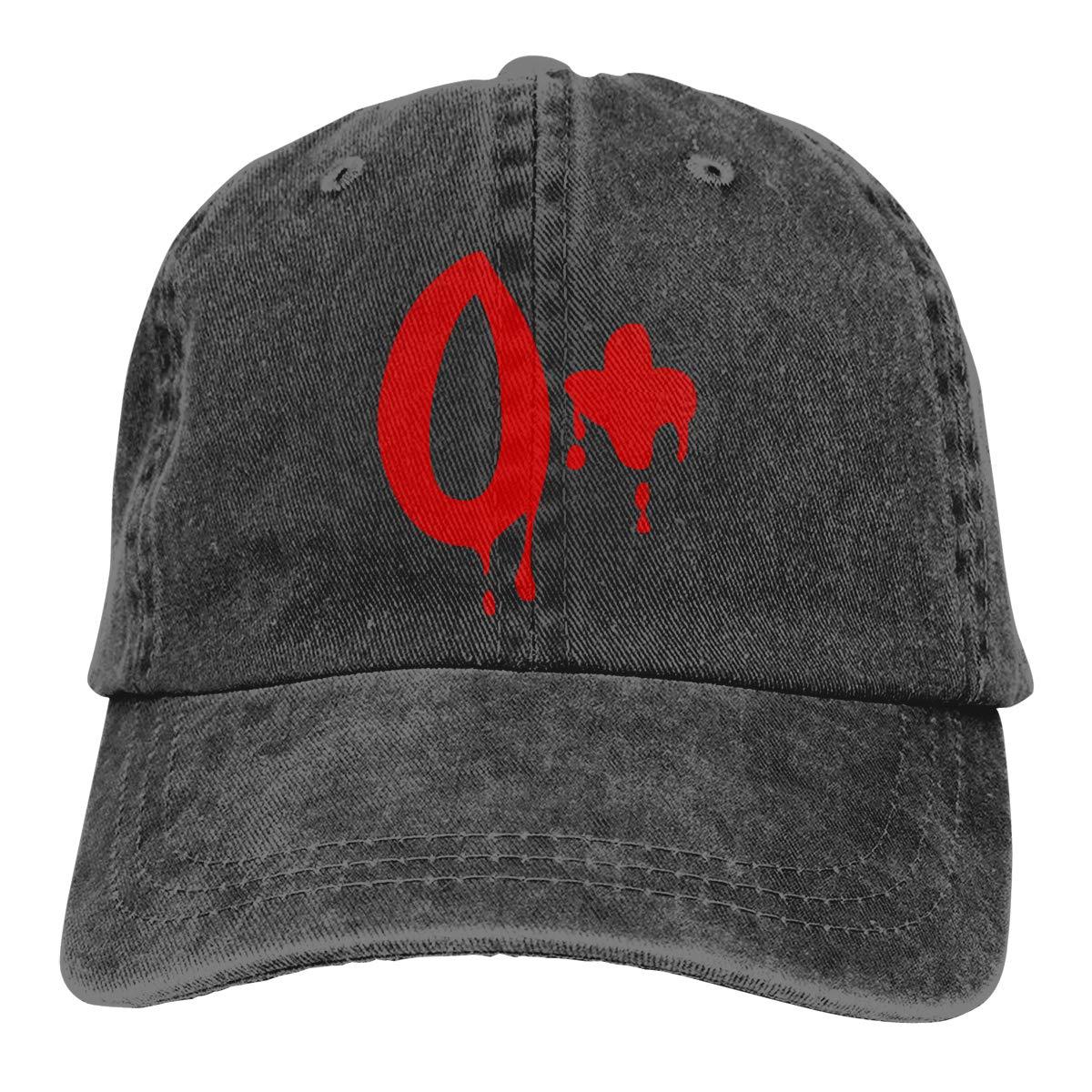 Männer & Frauen Einstellbar Baumwolle Denim Baseball Kappe Blut Gruppe O + Trucker Cap