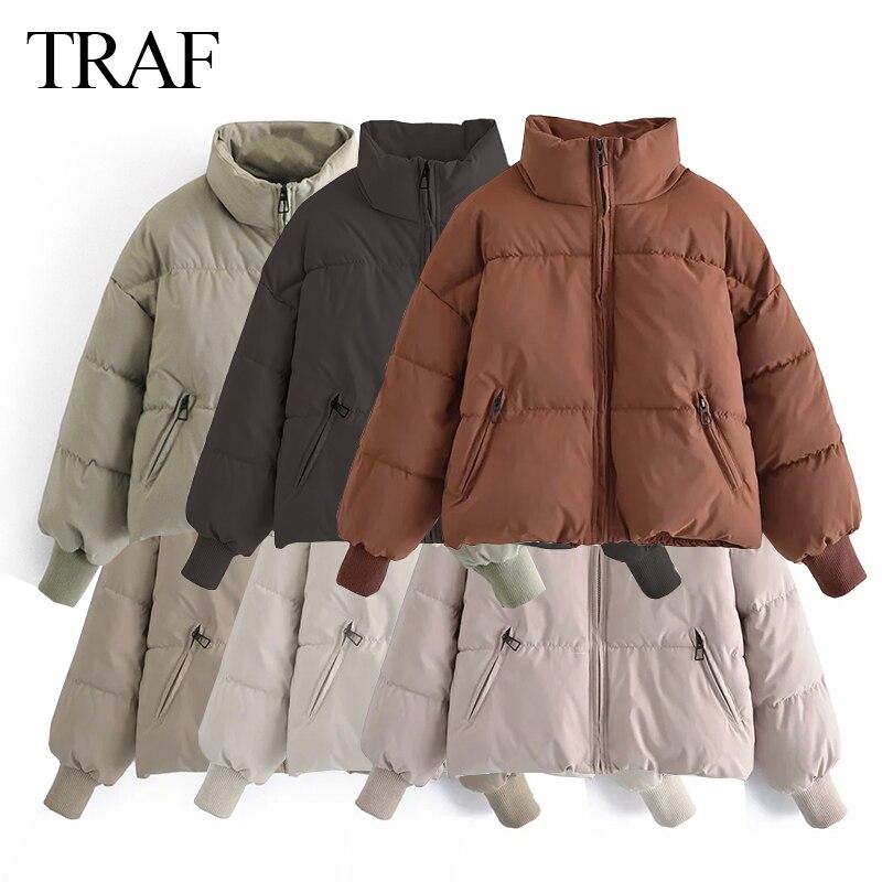 TRAF ZA 2021 ملابس النساء معطف جديد جواكت شتوية رشاقته الشارع الشهير المتضخم سترات طويلة الأكمام Batwing جيوب معاطف الإناث