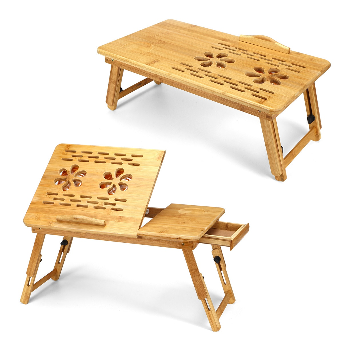 Mesa plegable portátil de bambú para ordenador portátil, sofá cama, escritorio con ventilador de refrigeración, mesa de cama para libros de ordenador portátil