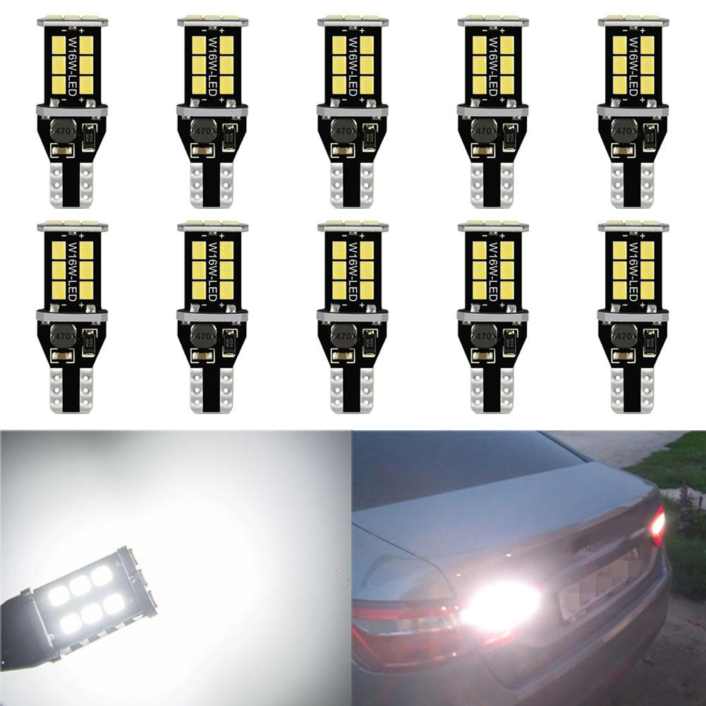10 Uds. W16W LED T15 Canbus coche camión vehículos luces de reserva bombilla trasera lámpara blanca luces accesorios de coche