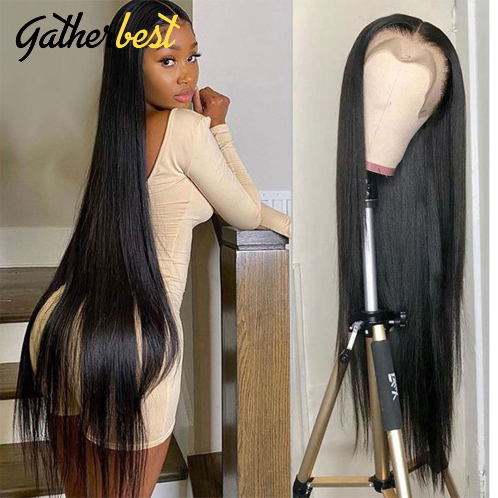 Straight Lace Front Wig Bone Straight Human Hair Wig Lace Frontal Wigs 30 32 Inch Lace Closure Wig f