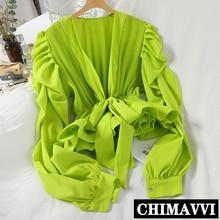 Streetwear femmes Blouses 2020 printemps été nouvelle couleur unie col en v plissé Bow chemise femme coréenne manches longues en mousseline de soie Blouses