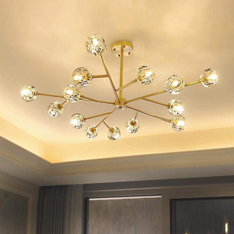 Lámpara led de cristal G9 para sala de estar, iluminación moderna de cristal de diamante, 3 colores, lustres de cristal, lámpara de cobre