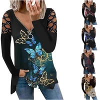 autumn and winter new fashion printed zipper v neck off the shoulder hollow long sleeved loose t shirt top
