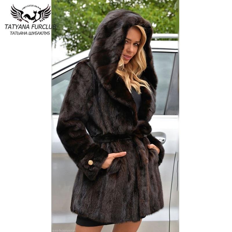 2021 New Women Natural Mink Fur Coats With Hood High Quality Full Pelt Genuine Coat 80cm Long Belts