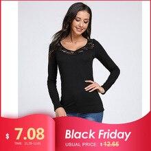 Celmia femmes Blouse 2020 automne haut femme vêtements Sexy col en V dentelle couture à manches longues chemise Blusas Feminina grande taille 3XL