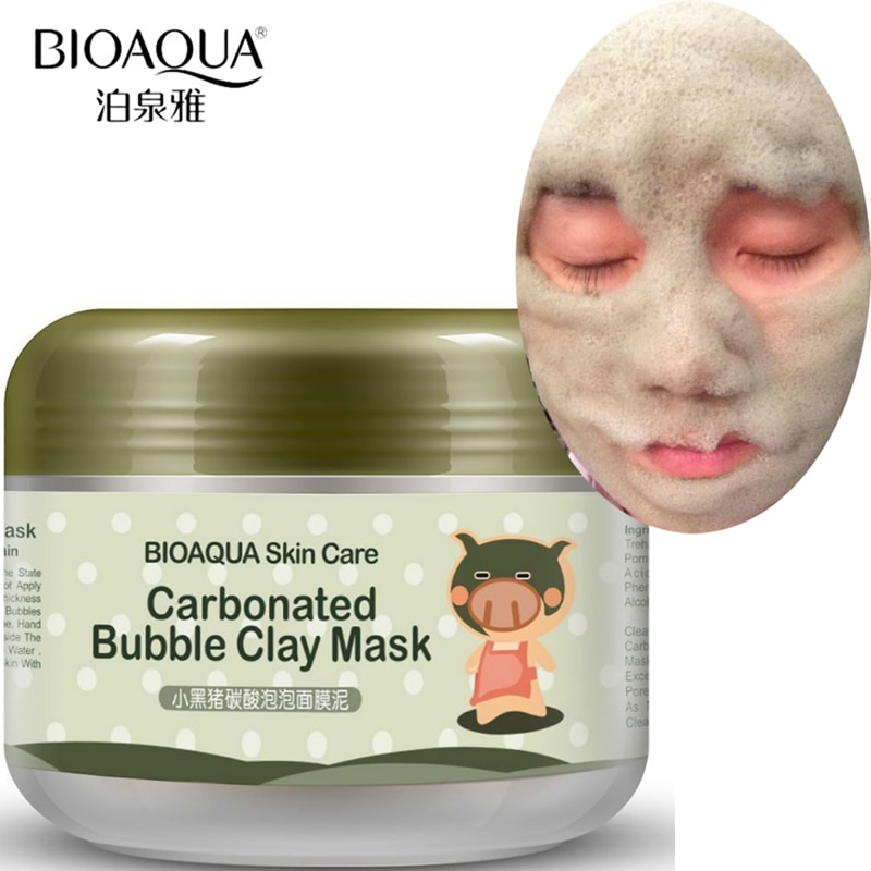 Бренд BIOAQUA уход за кожей Маленькая свинья кислородные пузырьки карбонат Грязевая Маска глубокое очищение отбеливание, увлажнение, гидрация Facila маска
