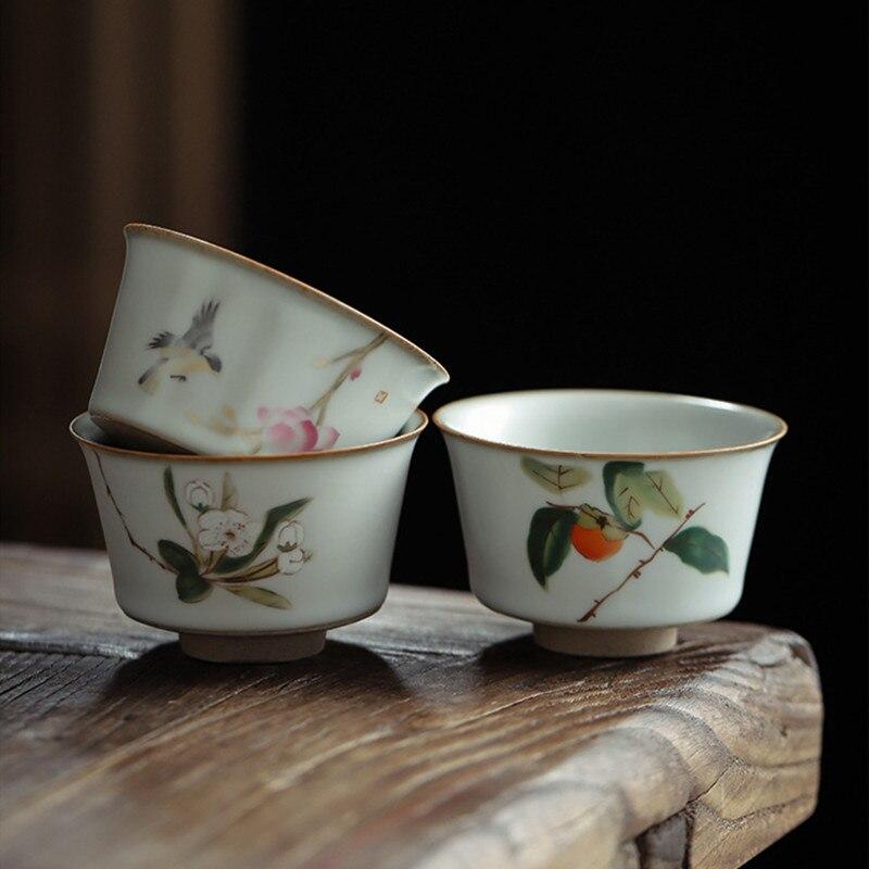 Vintage Bird Tea Cup Kiln Retro Tea Mug Ruyao 100ml  Porcelain Handpainted Teacup Tea Service Pigmented Tea Bowl Drinkware