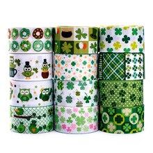 Ensemble aléatoire 5/10/20 styles 22/25mm trèfle motif Saint Patrick ruban de jour, chaque 1yard