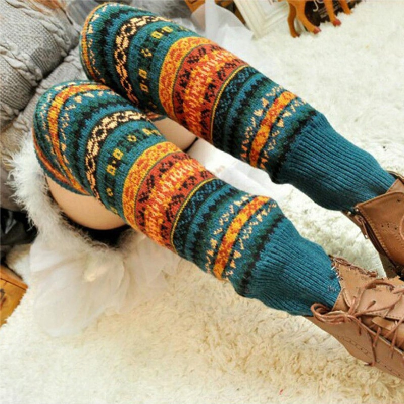 Socks Women Vintage Thick Knitted Wool Leg Warmers Winter Stylish Crochet Fashion Dance Print Hosiery Sock Womens Legwarmers