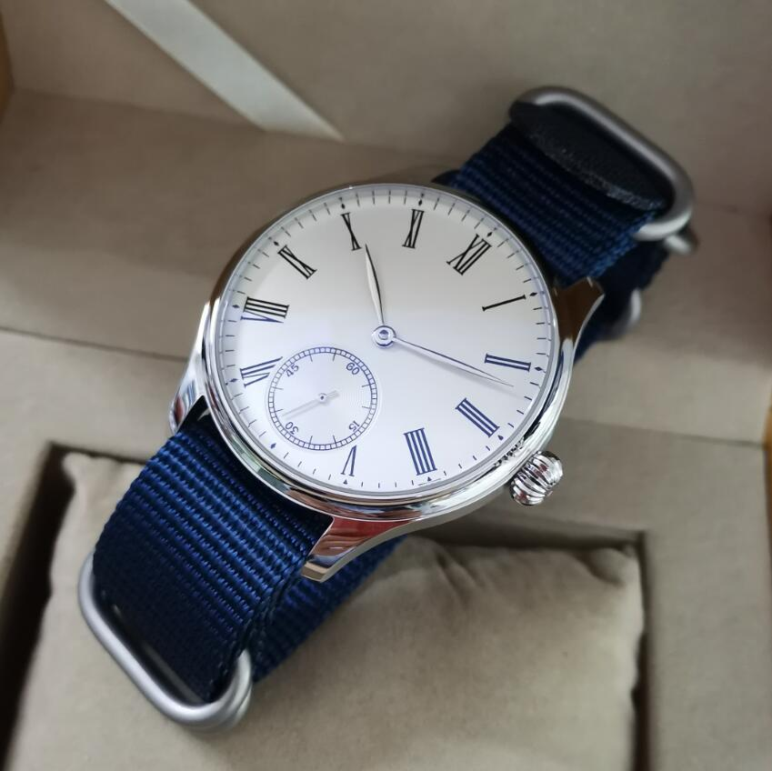 GEERVO-ساعة رجالية ميكانيكية ، ساعة يد رجالية ، بدون شعار ، بيج ، أبيض ، رقم روماني ، 44 مللي متر ، حركة ST3621 ، كريستال ياقوتي
